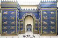 Assyro-Babylonian art The Ishtar Gate from Babylon, 6th cent. BCE. Built during the reign of Nebuchadnezzar II (605-562 BCE), it was placed on the Processional Way (reconstruction)