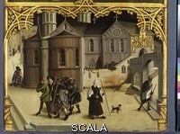 Burgkmair, Hans the Elder (1473-1531) Basilica of Santa Croce. Central panel: detail with pilgrims in Rome. 1504