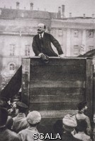 ******** Vladimir Ilyich Ulyanov, Lenin, addressing soldiers infront of the Bolshoi Theatre, Moscow, May 5, 1920. Leon Trotsky, with Lev Borisovich Kamenev, have been cropped out of the image.  Soldiers are about to go to the Polish front to fight Marshal Pulsudski. By G. P. Goldshtein. Part of the David King Collection. Presented to Tate Archive By David King 2016