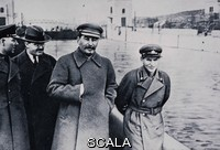 ******** Kliment Voroshilov, Vyacheslav Molotov, Stalin and Nikolai Yezhov walking along the banks of the Moscow-Volga Canal, April 1937. By F. Kislov. Part of the David King Collection. Presented to Tate Archive By David King 2016