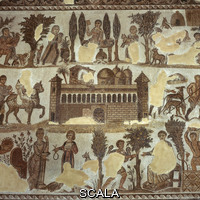 ******** Mosaic of scenes of country life around a porticoed villa from Carthage