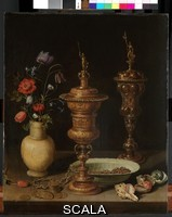 Peeters, Clara (1594-1659) Still Life with Flowers and Gold Goblets, 1612