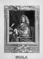 ******** Portrait of Jean-Baptiste Poquelin, known as Moliere, 1622-73, French playwright and actor, 18th century engraving by Jacques Firmin Beauvarlet, 1731-97, French engraver, after a portrait by Sebastien Bourdon, 1616-71, French painter and engraver. Copyright © Collection Particuliere Tropmi / Manuel Cohen
