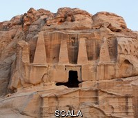 ******** Obelisk tomb, 1st century AD in Bab as-Siq and Triclinium, 25-75 AD, Petra, Ma'an, Jordan. These 2 Nabatean monuments are carved into the sandstone cliff. The upper Obelisk Tomb is crowned with four elongated pyramids representing