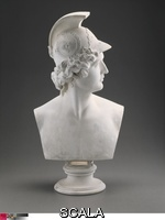 Greenough, Horatio (1805-1852) Abdiel, 1838/43. Abdiel, an angel from John Miltons epic poem Paradise Lost, has finely chiseled features, pronounced profile, and elaborately carved Greek warriors helmet and resembles the Classical statue Apollo Belvedere. Marble, h. 61 cm (24 in.). Gift of Elizabeth G. H. Bartol, 1894.562.