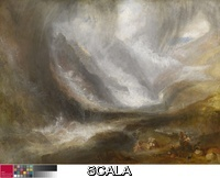 Turner, Joseph Mallord William (1775-1851) Valley of Aosta: Snowstorm, Avalanche, and Thunderstorm, 1836/37. Oil on canvas, 36 1/4 x 48 in. (92.2 x 123 cm). Frederick T. Haskell Collection, 1947.513.