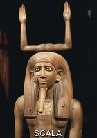 Egyptian art The Ka of Pharaoh Hor I, symbolised by raised arms, wooden statue, height 170 cm, from Dahshur. Detail. Egyptian Civilisation, Middle Kingdom, 13th Dynasty.