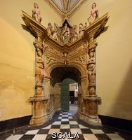 ******** Gate to Eden, door to the Sacristy, in a corner, designed by Andres de Vandelvira, 1509-75, in Plateresque style, and carved by Esteban Jamete, 1515-65, at the Sacra Capilla del Salvador, or Sacred Chapel of the Saviour, designed by Diego de Siloe and Andres de Vandelvira and built for Francisco de los Cobos in 1536 in Spanish Renaissance style and consecrated in 1559, on the Plaza Vazquez de Molina, in Ubeda, Jaen, Andalusia, Spain. The Renaissance buildings of Ubeda and Baeza are listed as a UNESCO World Heritage Site. Picture by Manuel Cohen
