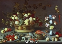 ******** Still Life with a Basket of Fruit' - with apples, pears, grapes, peache, vase of flowers, shells, parrots etc. 17th Century