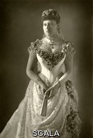******** Beatrice, Princess of England (1857-1944), wife of prince Henry von Battenberg, the fifth daughter and youngest child of Queen Victoria and Prince Albert. Here she poses in her wedding dress.. Photograph by W. & D. Downey from The Cabinet Portrait Gallery