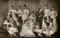 ******** Wedding of King George V, then Duke of York, to Princess Victoria Mary of Teck, later Queen Mary on 6 July 1893. The couple are attended by numerous bridesmaids. Back row, from left, Princess Alexandra of Edinburgh, Princess Helena Victoria of Schlweswig-