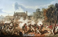 ******** Defence of the Chateau de Hougoumont by the flank company, Coldstream GuardsWatercolour by Denis Dighton, 1815Associated with Napoleonic Wars, Waterloo (1815).In 1811 Dighton obtained an ensigncy in the 90th Foot as a favour from the Prince Regent, but he