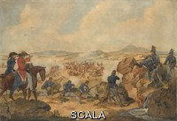 ******** An action during the Peninsular War, with riflemen of 95th (Rifle) Regiment acting as snipers, 1810 (c).Watercolour attributed to Denis Dighton, 1810 (c).Staff officers in the foreground viewing the scene through a telescope, 1810 (c).Associated with Peni