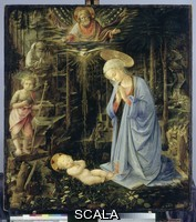 Lippi, Filippo (1406-1469) The Virgin Adoring the Child, with Saints John the Baptist and Bernard of Siena (The Adoration in the Forest), c. 1459. From the Magi Chapel at Palazzo Medici-Riccardi in Florence