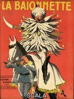 ******** Front cover design for La Baionnette, an issue focusing on Kaiser Wilhelm in a Carnival setting.  Showing the German leader in a turban and bells, sitting on a pantomime horse consisting of Franz Josef of Austria and Ferdinand of Bulgaria.