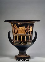 Asteas (4th cent. BCE) Theatrical representation of a farce: wooden columns support the stage on which two characters are attempting to drag a man off a chest while is third watching. Side A of a redfigured vase painting on a calyx crater, from Nola. Produced in Paestum, ca. 350 BCE. H. 37 cm. Inv. F 3044. Photo: Ingrid Geske.