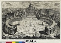 Piranesi, Giovan Battista (1720-1778) Vedute di Roma disegnate ed incise da Giambattista Piranesi architetto veneziano (Views of Rome designed and engraved by Giambattista Piranesi Venetian architect). View of the Vatican Basilica of St. Peter's, with colonnade and square, 1750