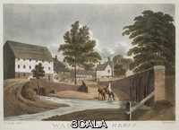 ******** A figure with two horses drinking from a river; a bridge on the left; a mill and other buildings behind . WADES MILL, HERTS. [England] : [publisher not identified], [about 1790-1800] . Aquatint and etching with hand-colouring . Maps K.Top.15.87