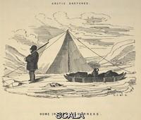 ******** Arctic sketches. Home in the wilderness. A man standing outside a tent, with a sleigh. The Illustrated Arctic News. Created 1850. Published in London on 15 March 1852. Facsimile of the Illustrated Arctic News published on board H.M.S. Resolute: Captn. Hor