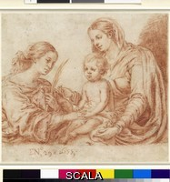 Murillo, Bartolome Esteban (1618-1682) Mystic wedding between Saint catherine of Siena and the infant Jesus, 1655. Drawing, sanguine over traces of black chalk, 18.2 x 20.6 cm. Inv. n.: 38592. Photographer: Christoph Irrgang.