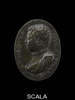 ******** Medal. designed by Danese Cattaneo. 16thC. 19230611,33. Cast bronze medal. Bust of Eugenio Sincritico facing left, wearing a doublet, and a mantle secured at the left shoulder. Bust of Celeste Sincritico facing left, wearing drapery secured twice at the left shoulder, a row of pearls, and braided hair partly covered.