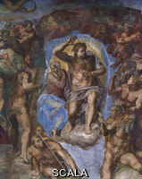 Michelangelo (Buonarroti, Michelangelo 1475-1564) Last Judgment - detail (Christ and the Virgin) [before restoration]