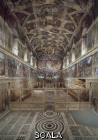 Michelangelo (Buonarroti, Michelangelo 1475-1564) View of the Sistine Chapel [before restoration]