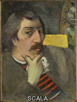 Gauguin, Paul (1848-1903) Portrait of the Artist with the Idol, ca. 1893.