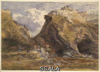 Palmer, Samuel (1805-1881) View at Tintagel, 1848. Black chalk and watercolour, heightened with white. Inv.: 1910,0716.17