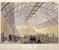 Kell Brothers (19th cent.) Interior of Charing Cross Station showing trains and the iron roof, London, c. 1890