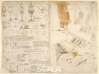 ******** Drawings by Leonardo Da Vinici on on the mechanical powers and forces, percussion, gravity, motion, optics and astronomy, with various arithmetical and geometrical propositions.. Arundel 263, ff.283v,282