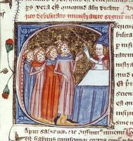 ******** Plague victims blessed by priest. Royal 6 E. VI f.301
