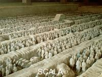 ******** Terracotta Warriors, Qi'an, China. The Terracotta Army was discovered in Xian in 1974. Over 7000 life-size figures of warriors were buried with the Qin dynasty Emperor Qin Shi Huangdi to defend him in the afterlife.