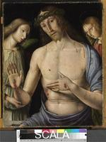 Santi, Giovanni (c. 1435-1494) Man of Sorrows with Two Angels