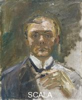 Beckmann, Max (1884-1950) Self-Portrait with Raised Hand, 1908