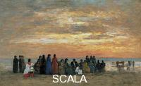 Boudin, Eugene (1824-1898) Figures on the Beach in Trouville, 1869