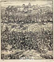 ******** Battle of Ravenna, April 11, 1512, by Hans Burgkmair the Elder (1473-1531), engraving. War of the League of Cambrai, Italy, 16th century.