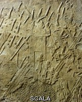 Assyro-Babylonian art The Assyrian conquest of Lachish in 701 BC, relief from the palace of Sennacherib at Nineveh. Assyrian civilization, the eighth century BC.