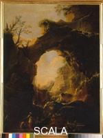 Rosa, Salvator (1615-1673) Cave with Waterfall