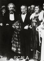 ******** Albert Einstein with his wife and Charles Chaplin at the premiere of  'City Lights', 1931
