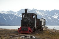 ******** An old train resting on tracks. Ny-Alsund, Spitsbergen Island, Svalbard Archipelago, Arctic Ocean, Norway.