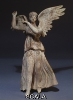 ******** Greek, (3rd century BC). An Hellenistic terracotta figure of winged Nike (Victory). Myrina, 3rd century B.C. 25cm. High.
