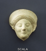 ******** Greek, (6th century BC). An Archaic Greek Protome female head with rimmed almond-shaped eyes, a pronounced 'Archaic' smile. Terracotta, circa late 6th century B.C. 11cm high.
