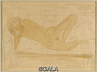 ******** Mueller, Otto (1874-1930). Reclining Female Nude; Liegender Weiblicher Akt. Otto Mueller (1874-1930). Pencil and wash on paper.