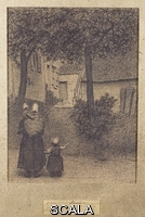 ******** Mellery, Xavier (1845-1921). A Mother and her Children; Mere et ses Enfants. Xavier Mellery (1845-1921). Black chalk on paper. dated 3 Mars 1899. 24.8 x 18.4cm.