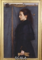 ******** Khnopff, Fernand (1858-1921). Portrait of Jeanne de Bauer. Fernand Khnopff (1858-1921). Oil on panel. Dated 1890. 53 x 35cm
