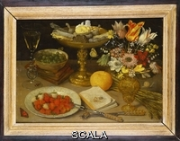 ******** Flegel, Georg (1566-1638). A Still Life with Strawberries on a Silver Plate, a Tazza with Sweetmeats, a Silver Gilt Bowl of Gooseberries, a Glass of Wine, a Manuscript and a Vase of Flowers on a Ledge. Georg Flegel (1563-1638). Oil on panel. 31.8 x 44.5cm.