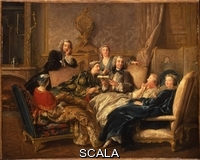 ******** Troy, Jean Francois de (1679-1752). La Lecture de Moliere. Jean Francois de Troy (1679-1752). Oil on canvas. Dated circa 1730. 74 x 93cm