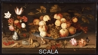 ******** Ast, Balthasar van der (c.1593-1657). Fruit on a Dish, Flowers in a Wanli Kraak Porselein Vase, Sprigs of Cherries and Redcurrants etc. Balthasar van der Ast (c.1593-1657). Oil On Panel. Dated 1626. 46.5 x 84.5cm