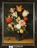 ******** Ast, Balthasar van der (c.1593-1657). Tulips, Roses and Other Flowers in a Glass Vase. Balthasar Van Der Ast (1593-1657). Oil on panel. 40 x 29.2cm.